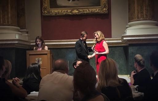 Jane Barret, co-founder and partner at Cadence Innova, receives the Inspiring Leadership Team Award